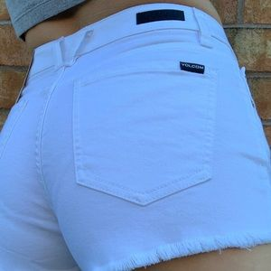 Volcom mid rise white shorts with raw hem …